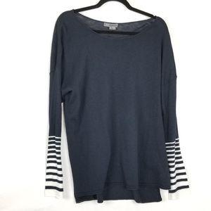Vince Navy Blue White Stripes Wrist Long Sleeve XL